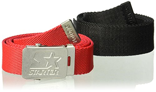 Starter Youth Unisex 2-Pack Golf Web Belt, Prime Exclusive, Black/Team Red, One Size