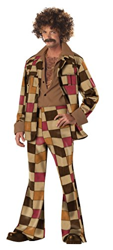 [California Costumes Men's Adult Disco Sleazeball with Wig and Moustache, Brown, X-Large] (Mens Disco Costumes Pants)