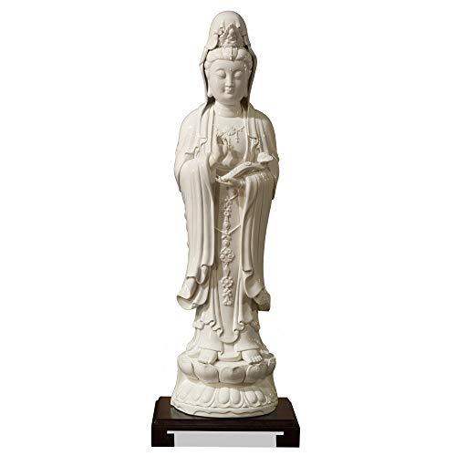 - ChinaFurnitureOnline Porcelain Kwan Yin Statue, Hand Crafted Standing Kwan Yin Buddha with Rising Dragon Motif White Glaze