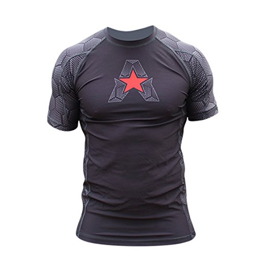 Anthem Athletics NEW! 10+ Styles HELO-X Short Sleeve Rash Guard Compression Shirt - BJJ, MMA - Black Hex With Red - Large