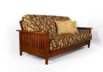 denali warm cherry queen wall hugger futon frame by strata furniture amazon    denali warm cherry queen wall hugger futon frame by      rh   amazon