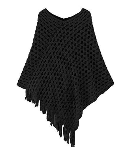 Novawo Womens Double Layer Tassel Poncho Cape Shawls Batwing Knit Sweater Cloak, Black