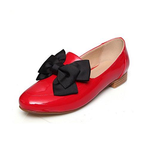 AllhqFashion Mujer Sin cordones Pu Puntera Cerrada Puntera Redonda Mini Tacón Sólido De salón Rojo