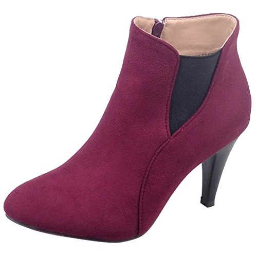 AllhqFashion Damen Nubukleder Niedrig-Spitze Rein Reißverschluss Stiletto Stiefel, Rot, 39