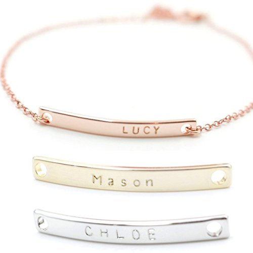 SAME DAY SHIPPING GIFT TIL 2PM CDT A Personalized Name Bar Bracelet 16K Plated Plate Charms Hand Stamp or Computer Diamond Engraving bridesmaid Wedding Graduation Birthday Anniversary Gift
