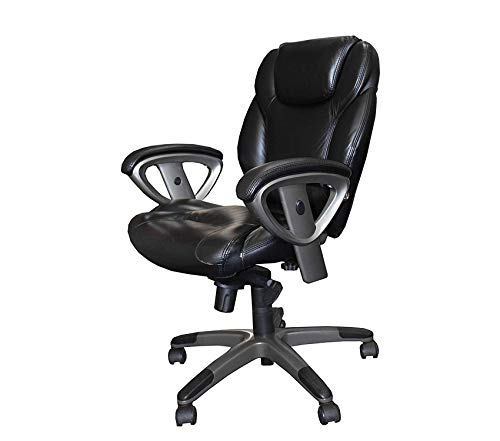Wood & Style Ultimo 300 Mid-Back Task Chair with Arms Black Leather Decor Comfy Living Furniture Deluxe Premium Collection