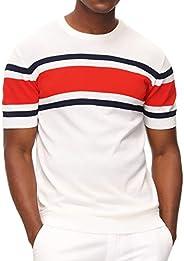 PJ PAUL JONES Men's Casual Crew Neck Pullover Short Sleeve Knitted Summer Pullover Swea