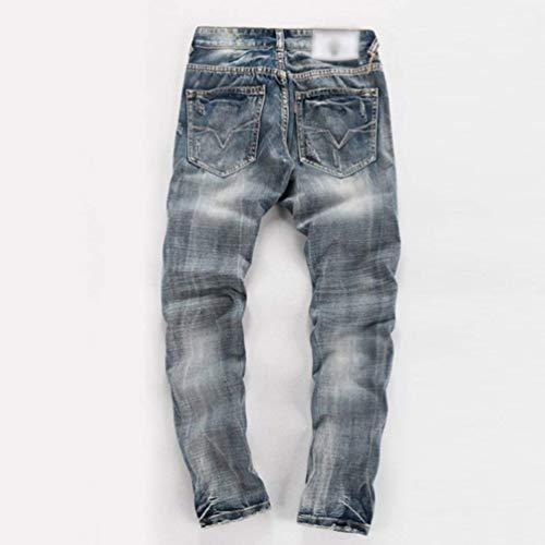 Stretch Pantaloni Skinny In Da Denim Grau Moto Strappati Con Jeans Casual Huixin Cerniera Uomo an7qwRxR