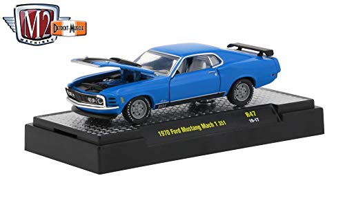 M2 Machines 1970 Ford Mustang Mach 1 351 (Grabber Blue) - Detroit Muscle Release 47 Castline 2019 Premium Edition 1:64 Scale Die-Cast Vehicle & Custom Display Base (R47 19-17) ()