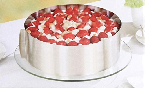Adjustable Circle Cake Mold 6-12'' Stainless Steel Cake Mousse Round Baking,Non-Stick Baking Pastry Tools, Resistant Low and High Temperature, Easy to Use and Clean Gessppo by Gessppo_Cake Mold (Image #1)