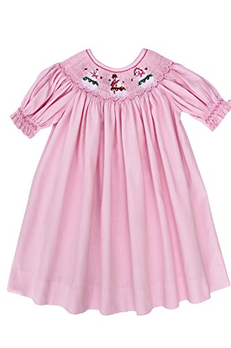 Carouselwear Girls Hand Smocked Christmas Snowmen Bishop Dress