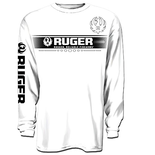 Uware Brands Mens Ruger Block Long Sleeve Cotton T Shirt White Large