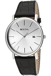 Bulova Men's Silver Dial Black Genuine Leather