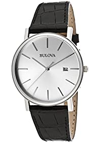 Bulova Men's Silver Dial Black Genuine Leather