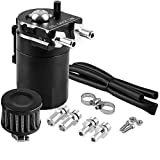Universal Car Oil Catch Can Kit Reservoir Tank 300ml with Breather Aluminum Compact Dual Cylinder Polish Baffled Engine Air Oil Separator Tank Fit (Black)