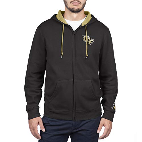Top of the World Central Florida Golden Knights Men's Full Zip Hoodie Applique Icon, Black, Medium