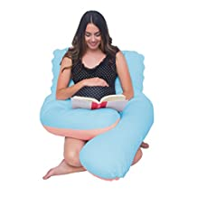 Meiz Comfortable Full Body / Maternity Pregnancy Pillow, Pain Relief Pillow, Nursing Pillow With 100% Cotton Cover, 360° Total Body, Back and Belly Support !Great Gift for Mommy and Baby (Blue&Pink)
