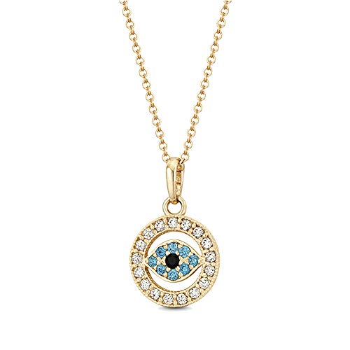 (Obidos Evil Eye Pendant Necklace Lucky Jewelry Gold Plated Chain for Women Girls Valentine's Day Party Special Days)