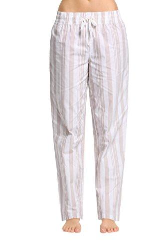 CYZ Women's 100% Cotton Woven Sleep Pajama Pants-AlmondCreamStripe-XL ()