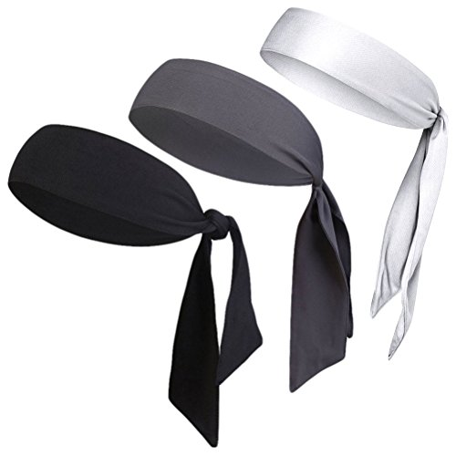V-SPORTS Dri-Fit Head Ties Tennis Headbands Sweatbands Performance Elastic and Moisture Wicking, Black/White/Gray, 3 Piece, One Size, 40.16