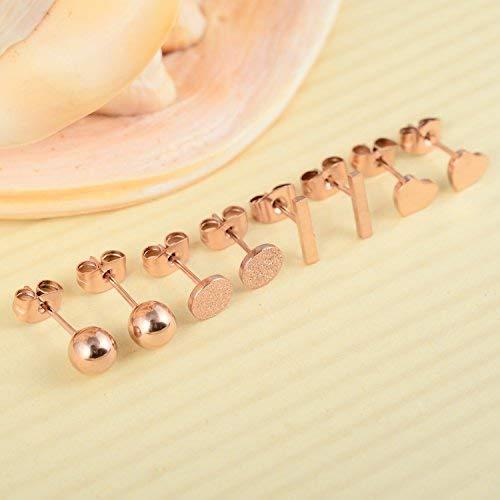 Ruarua Rose Gold Stud Earrings for Women Stainless Steel Heart Mini Bar Earring Line Ear Studs Stick (Rose Gold)