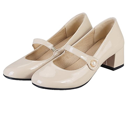 AmoonyFashion Womens PU Solid Pull-On Square-Toe Kitten-Heels Pumps-Shoes Beige SaeE58ehZ