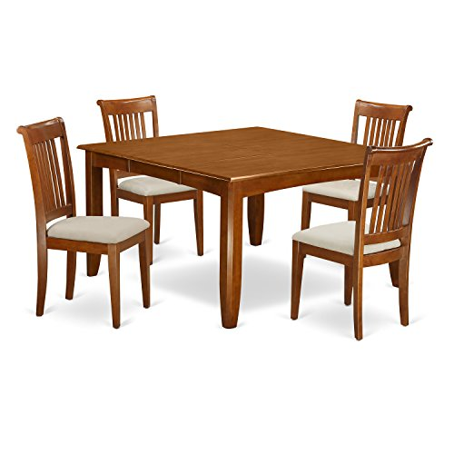 5 Pc Dining room set for 4-Square Dining Table with Leaf and 4 Dining Chairs