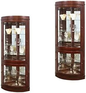 Home Square Set of 2 Corner Curio Cabinet in Chocolate Cherry