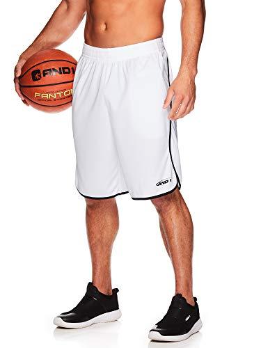 (AND1 Men's Basketball Gym & Running Shorts w/Elastic Drawstring Waistband & Pockets - White, Small)