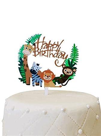 Jungle Theme Kid S Birthday Cake Topper Amazon Com Grocery