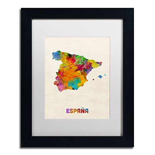 Spain Watercolor Map Art by Michael Tompsett in Black Frame, Acrylic Paper 11 by 14-Inch, White Matte by Trademark Fine Art