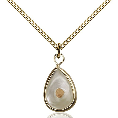 Gold Filled Mustard Seed Pendant 5/8 x 3/8 inches with Gold Filled Lite Curb Chain by Unknown