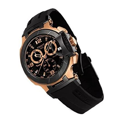 f29cf787094e Image Unavailable. Image not available for. Color  New T-race Rose Gold  Chronograph Rubber Mens Watch T0484172705706 Black