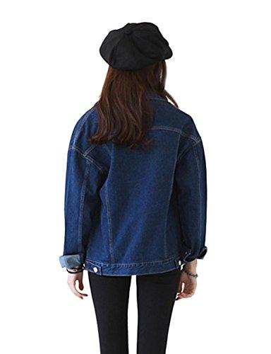 Jacket Mujeres Denim Chaquetas Sudaderas Abrigo Minetom Béisbol Cardigans Azul Mezclilla de 0qpPn4Sa