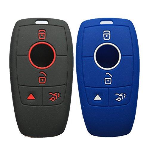 Alegender Qty(2) 4 Buttons Rubber Smart Key Cover Jacket Keyless Protector Holder for 2016 2017 2018 Mercedes-Benz E Class Black Blue ()