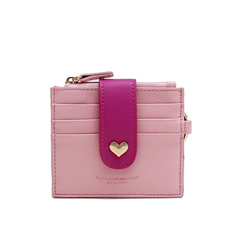Girl Card Holder (Womens Card Holder RFID Girls Wallet Vibrant ID Card Sleeve Card Case with Key Ring)