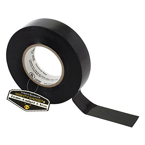"""20 Pack of Mighty Gadget (R) Professional Grade UL Listed Black Color PVC Electrical Tapes with Durable Rubber Based Adhesive, Rated up to 600 Volts and 176 °F - Dimensions: 3/4"""" (W) x 60 Feet (L) by Mighty Gadget (Image #1)"""