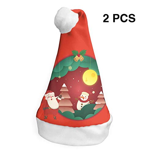 Santa Claus Hat Snowman in The Moon Merry Christmas Hats Adults Children Costume Xmas Decor Party Supplies (2-Pack) ()