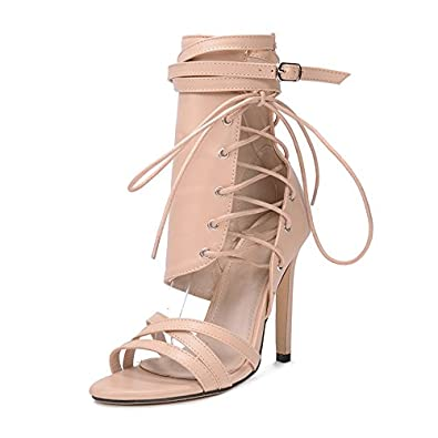 0b13ae1b7 Image Unavailable. Image not available for. Color  Frozac Women Sandals 2018  Fashion Summer Gladiator Sandals Woman Shoes Lace up Ankle Strap High Heels