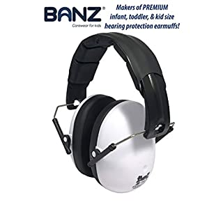 BANZ Kids Headphones – Hearing Protection Earmuffs For Children – ADJUSTABLE headband to fit all ages – Protect Kids Ears – Block Noise – Fireworks – Sporting Events – Concerts – Movies (White)