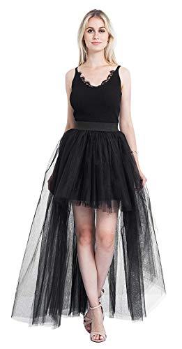 Floor Length Tutu Dovetail Skirt Short Front Back Long Sexy Fluffy Tulle Skirt for Wedding/Bridal Skirt/Take photoes (Black)