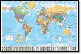 World map world map framed poster amazon kitchen home world map world map framed poster gumiabroncs Choice Image