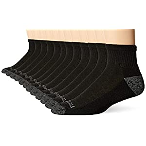 Fruit of the Loom Men's Half Cushion Dual Defense Ankle Socks (12 Pack)