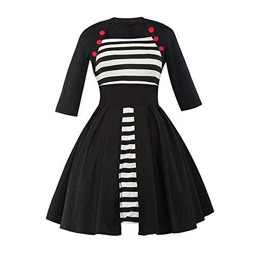 Jothin Damen 50s Rockabilly Kleid Frauen Schwarzweiss Striped Swing