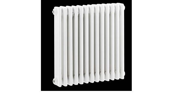 Hudson Reed Radiador Calentador Tradicional Diseño Horizontal Triple - Acero Blanco - 600mm x 585mm - 988 Vatios - Calefacción Central Agua Caliente ...