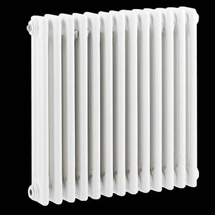 Hudson Reed Radiador Calentador Tradicional Diseño Horizontal Triple - Acero Blanco - 600mm x 585mm -