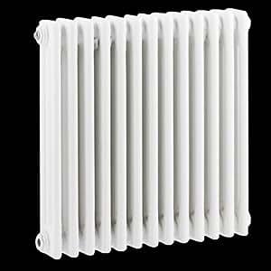 Hudson Reed Radiador Calentador Tradicional Diseño Horizontal Triple - Acero Blanco - 600mm x 585mm - 988 Vatios - Calefacción Central Agua Caliente - Soportes Pared Incluidos
