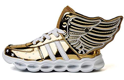 ZWEILI LED Light Shoes High Help Charging Shoes Mirror Double Wings Shoes for Children (Gold,EU 30/12.5 M US Little Kid) -