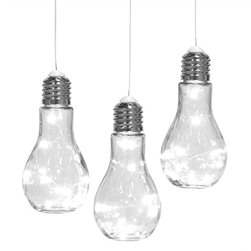 Home Trends Set of 3 Hanging Edison Bulb Light Bulbs, Decorative Glass Indoor Or Outdoor String Lights, Lanterns, Lamps For Patio, Backyard, Party Lighting, Weddings by Home Trends