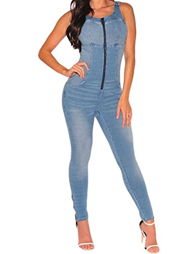 [FQHOME Womens Denim Stretch Zipper Jumpsuit Size L] (Stretch Jumpsuit)